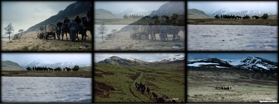Dougal MacKenzie's (Graham McTavish) wagon train travels against more beautiful scenes of Scotland.