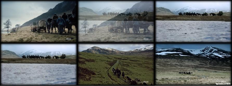 Dougal MacKenzie's (Graham McTavish) wagon train travels against more beautiful scenes of Scotland.