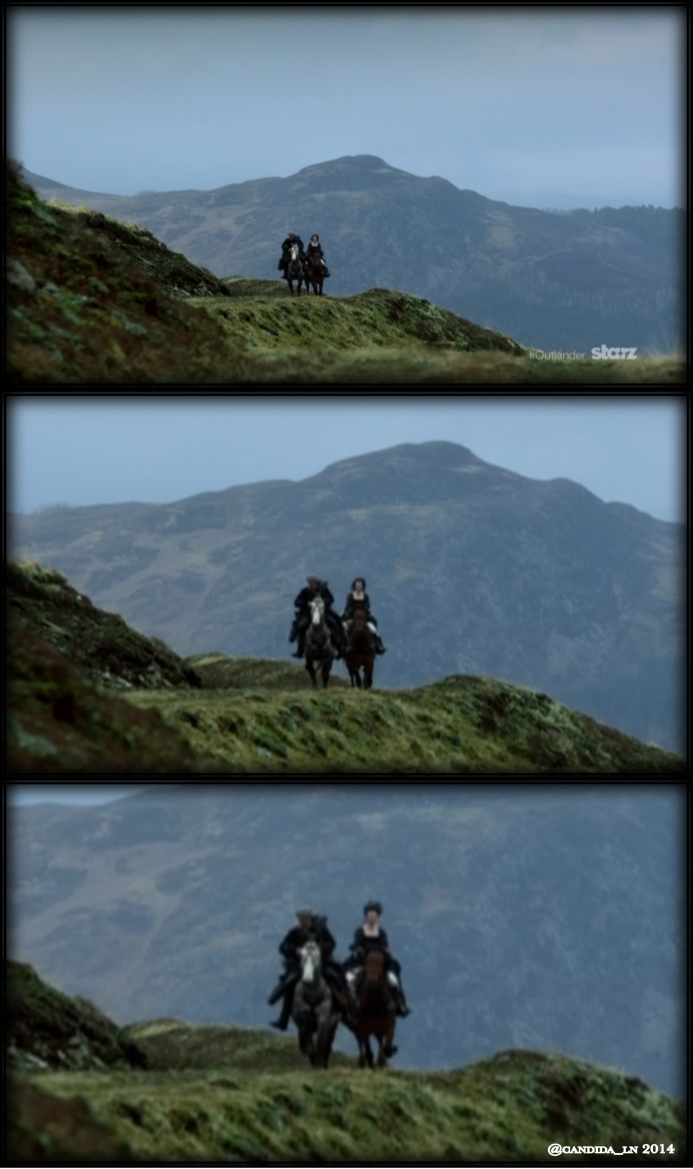 Jamie (Sam Heughan) and Claire (Caitriona Balfe) riding across the Highlands.