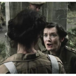 Caitriona Balfe as Claire Randall & Claire Yuille as the Army Nurse