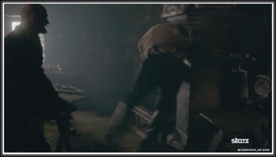 Dougal and Murtagh slam a villager into the wall