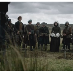 Caitriona Balfe as Claire Randall with the MacKenzie clan