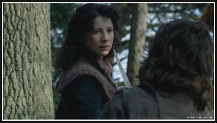Claire (Caitriona Balfe) calls Angus (Stephen Mohr) a thief.