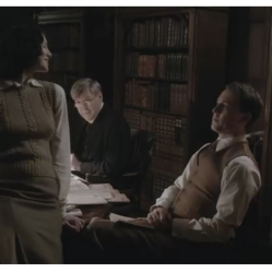 Caitriona Balfe as Claire Randall, Tobias Menzies as Frank Randall and James Fleet as Reverend Wakefield
