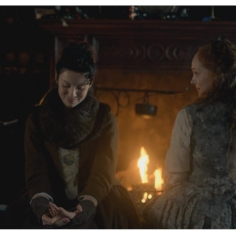 Caitriona Balfe as Claire Randall & Lotte Verbeek as Geillis Duncan