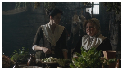 Caitriona Balfe as Claire Randall & Annette Badland as Mrs. Fitz