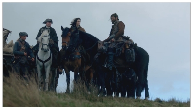Caitriona Balfe as Claire Randall, Duncan Lacroix as Murtagh FitzGibbons Fraser, and Bill Paterson as Ned Gowan