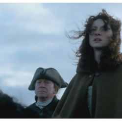 Caitriona Balfe as Claire Randall and Bill Paterson as Ned Gowan