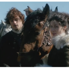 Caitriona Balfe as Claire Randall and Sam Heughan as James Fraser
