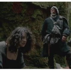 Caitriona Balfe as Claire Randall & Graham McTavish as Dougal MacKenzie