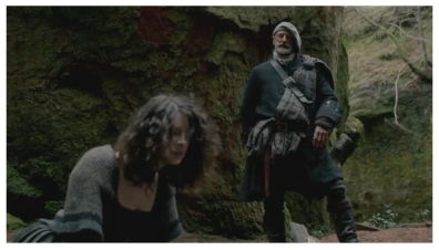 Caitriona Balfe as Claire Randall & Graham McTavish as Dougal MacKenzie