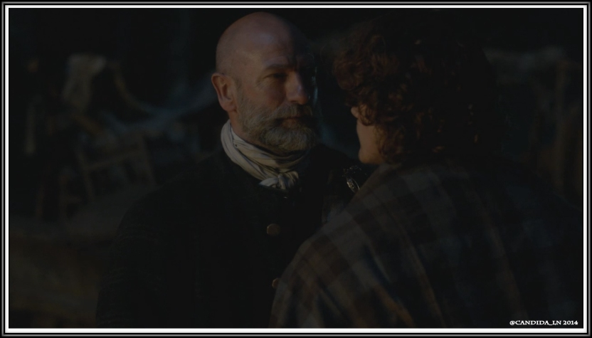 Dougal (Graham McTavish) and Jamie (Sam Heughan) argue.