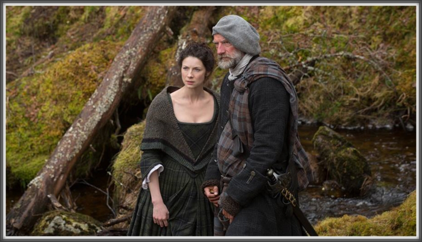 EP105: Claire (Caitriona Balfe) and Dougal MacKenzie (Graham McTavish) look on guard.