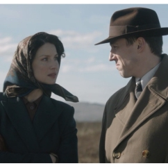 Caitriona Balfe as Claire Randall and Tobias Menzies as Frank Randall