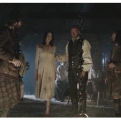 Duncan Lacroix as Murtagh FitzGibbons Fraser, Caitriona Balfe as Claire Randall, Graham McTavish as Dougal MacKenzie, Stephen Walters as Angus Mohr & Grant O'Rourke as Rupert MacKenzie