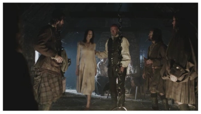 Duncan Lacroix as Murtagh FitzGibbons Fraser, Caitriona Balfe as Claire Randall, Graham McTavish as Dougal MacKenzie, Stephen Walters as Angus Mohr & Grant O'Rourke as Rupert MacKenzie