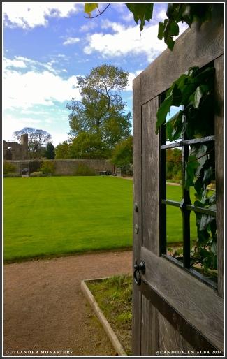 View of Aberdour Castle through the north garden gate.