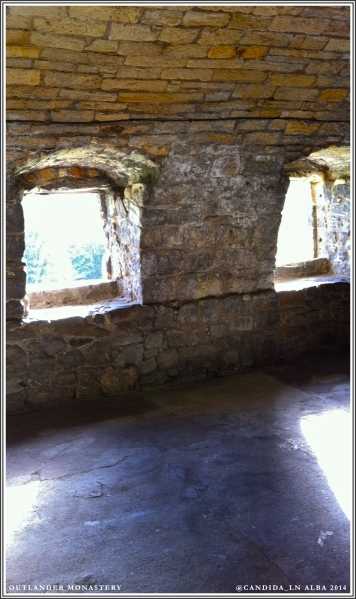 Possibly the windows in Jamie's room at the monastery.