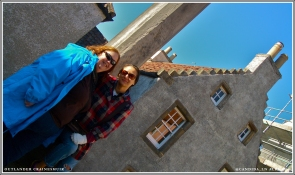Mandy & I hanging out near the pillory, waiting for Jamie to show us his strong fingers.