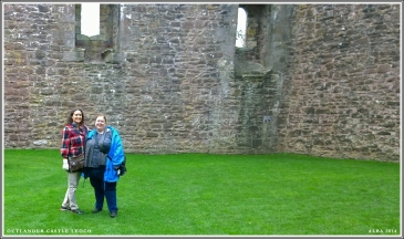 Mandy & I standing in Doune Castle courtyard facing main entrance. Mrs. Fitz did not come out to greet us. B!tch.