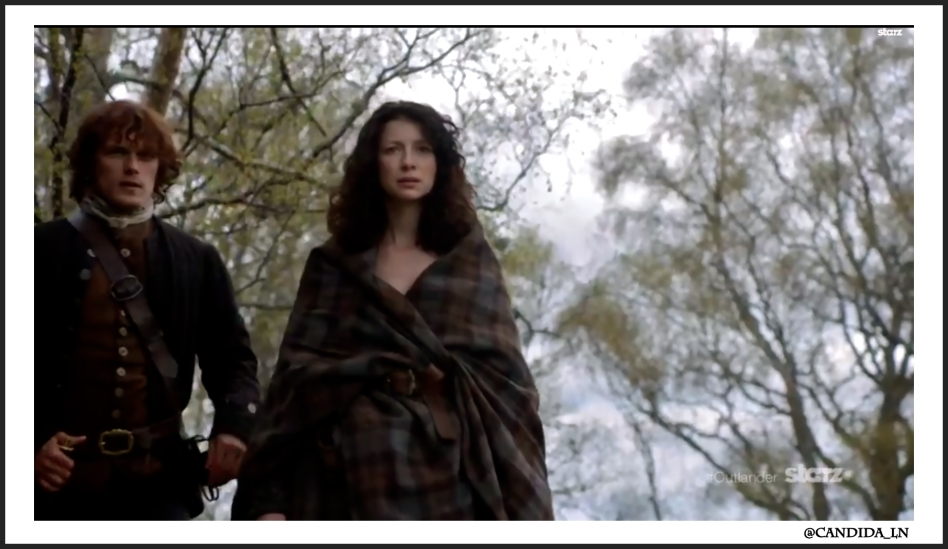 Jamie (Sam Heughan) and Claire (Caitriona Balfe) approach Craigh na Dun after escaping the witch trial.