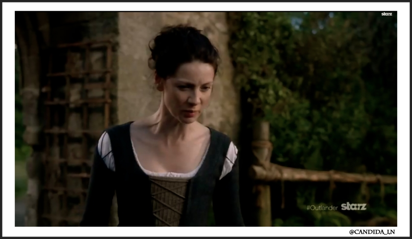 Claire (Caitriona Balfe) finds out Jamie has been captured by The Watch.