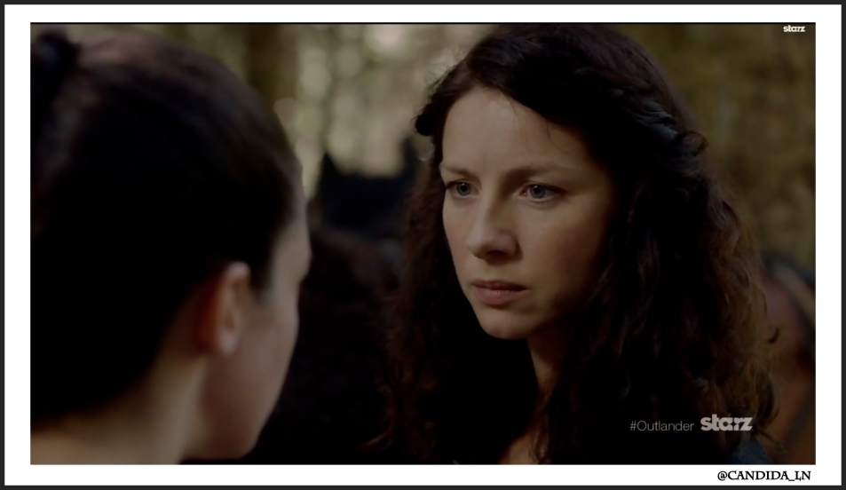Claire (Caitriona Balfe) musters courage during the search for Jamie.