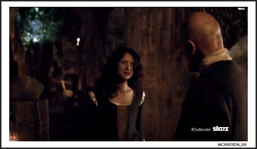 Dougal (Graham McTavish) is not keen to help Claire (Caitriona Balfe).