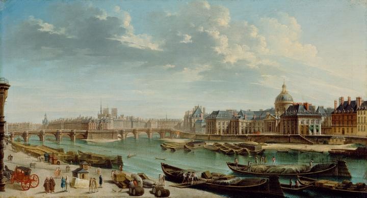 A View of Paris with the Ile de la Cité; Jean-Baptiste Raguenet, French, 1715 - 1793; 1763; Oil on canvas; Unframed: 44.5 x 81.9 cm (17 1/2 x 32 1/4 in.), Framed: 62.2 x 98.7 x 6 cm (24 1/2 x 38 7/8 x 2 3/8 in.); 71.PA.25