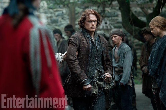"""""""In the space of five episodes, I go from the huge battle to having lost everything, living in a cave, living in his memories of Claire, and then finding some sort of peace and freedom,""""Heughan says."""